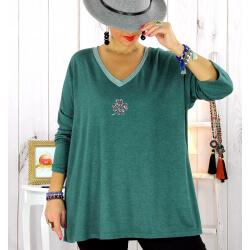 Pull tunique grande taille trèfle vert pétrole CANCALE Pull tunique femme