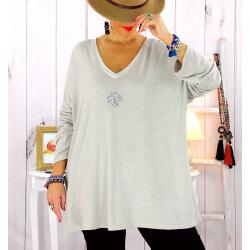Pull tunique grande taille trèfle beige CANCALE Pull tunique femme