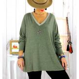Pull tunique grande taille trèfle kaki CANCALE Pull tunique femme