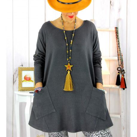 Pull tunique longue grande taille gris FLORIE Pull tunique femme