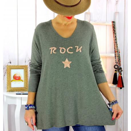 Pull tunique grande taille rock étoile kaki STUDIO Pull tunique femme