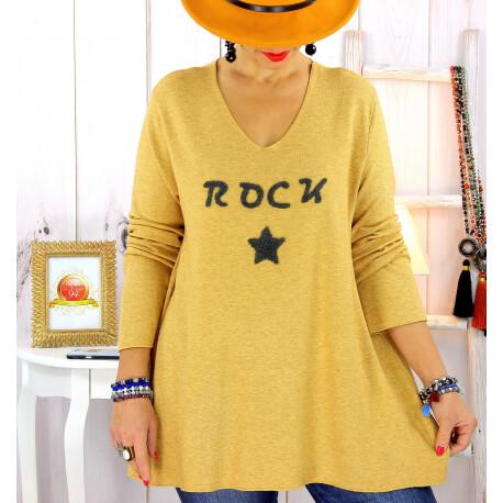 Pull tunique grande taille rock étoile moutarde STUDIO Pull tunique femme