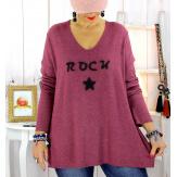 Pull tunique grande taille rock étoile bordeaux STUDIO Pull tunique femme