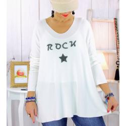 Pull tunique grande taille rock étoile blanc STUDIO Pull tunique femme