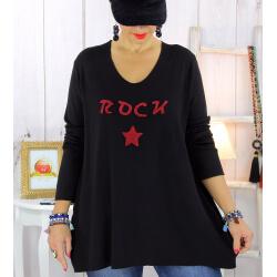 Pull tunique grande taille rock étoile noir STUDIO Pull tunique femme
