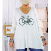 Pull tunique grande taille bohème blanc BICYCLE Pull tunique femme