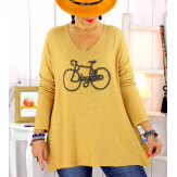 Pull tunique grande taille bohème moutarde BICYCLE Pull tunique femme