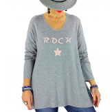 Pull tunique grande taille rock étoile gris STUDIO Pull tunique femme