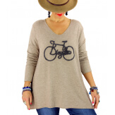 Pull tunique grande taille bohème taupe BICYCLE Pull tunique femme
