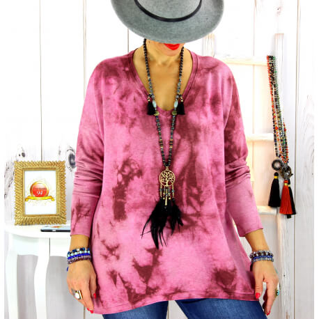 Pull tunique tie and dye bordeaux GRETA Pull tunique femme
