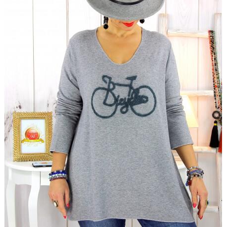Pull tunique grande taille bohème gris BICYCLE Pull tunique femme