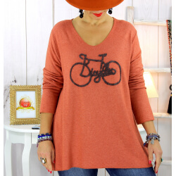 Pull tunique grande taille bohème rouille BICYCLE Pull tunique femme