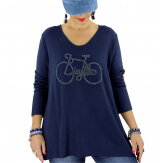 Pull tunique grande taille bohème bleu marine BICYCLE Pull tunique femme