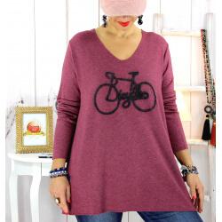 Pull tunique grande taille bohème bordeaux BICYCLE Pull tunique femme