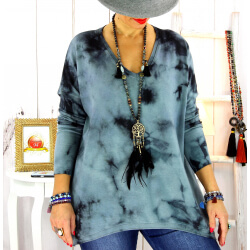 Pull tunique tie and dye noir GRETA Pull tunique femme