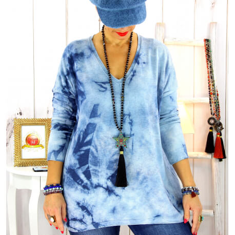Pull tunique tie and dye bleu jean GRETA Pull tunique femme