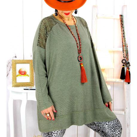 Pull tunique dentelle épaules kaki LESTER Pull tunique femme