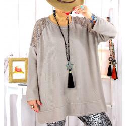 Pull tunique dentelle épaules taupe LESTER Pull tunique femme