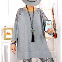 Pull tunique dentelle épaules gris LESTER Pull tunique femme