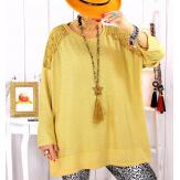 Pull tunique dentelle épaules moutarde LESTER Pull tunique femme