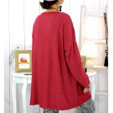 Pull tunique dentelle épaules bordeaux LESTER Pull tunique femme
