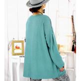 Pull tunique dentelle épaules vert LESTER Pull tunique femme