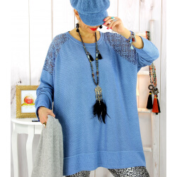 Pull tunique dentelle épaules bleu jean LESTER Pull tunique femme
