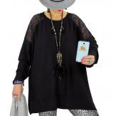 Pull tunique dentelle épaules noir LESTER Pull tunique femme