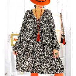 Robe tunique grande taille léopard beige MISTER Robe tunique femme