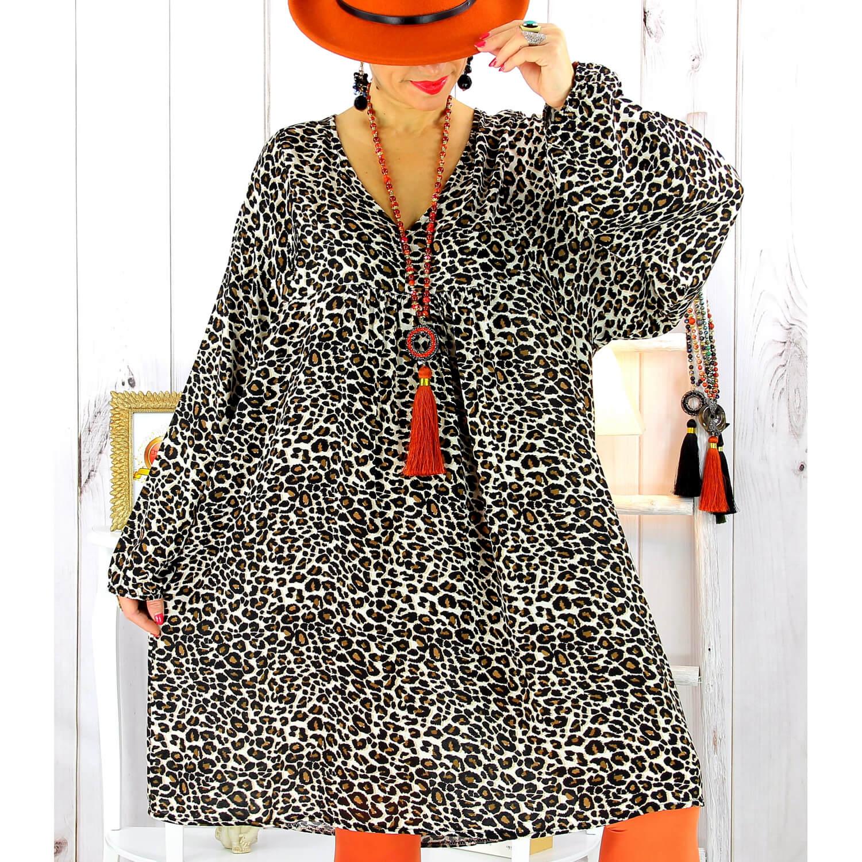 Robe Tunique Femme Grande Taille Leopard Beige Mister Charleselie94