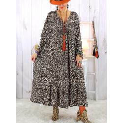 Robe longue grande taille bohème léopard beige DITA Robe longue grande taille