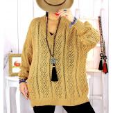 Pull femme grande taille ajouré camel GLOVER Pull femme grande taille