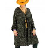 Robe tunique grande taille léopard kaki MISTER Robe tunique femme