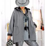 Veste à capuche suédine daim gris LILIANE Veste femme