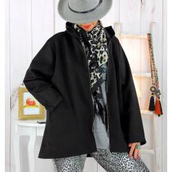 Veste à capuche suédine daim noire LILIANE Veste femme