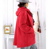 Veste à capuche suédine daim rouge LILIANE Veste femme