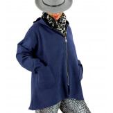 Veste à capuche suédine daim bleu marine LILIANE Veste femme