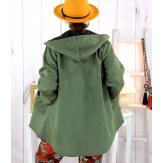 Veste à capuche suédine daim kaki LILIANE Veste femme
