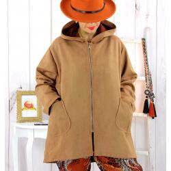 Veste à capuche suédine daim camel LILIANE Veste femme
