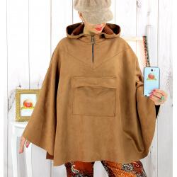 Poncho cape capuche suédine daim camel CACAO Poncho cape femme