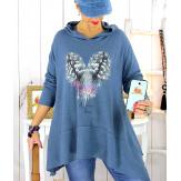 Pull tunique capuche grande taille jean DUVET Pull tunique femme