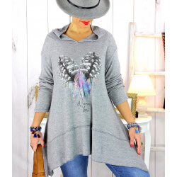 Pull tunique capuche grande taille gris DUVET Pull tunique femme