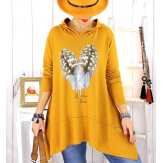 Pull tunique capuche grande taille moutarde DUVET Pull tunique femme