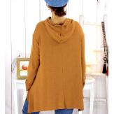 Pull tunique capuche grande taille camel DUVET Pull tunique femme