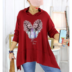 Pull tunique capuche grande taille bordeaux DUVET Pull tunique femme