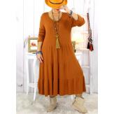 Robe maille hiver bohème camel SCUDO Robe hiver