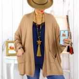 Gilet femme grande taille maille camel STATE Gilet femme grande taille