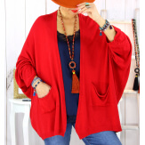 Gilet femme grande taille maille rouge STATE Gilet femme grande taille