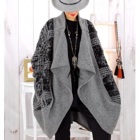 Manteau laine femme grande taille gris MALABAR Manteau hiver femme