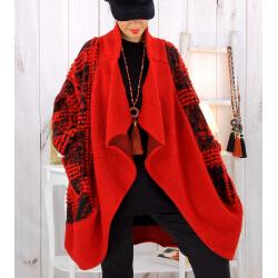 Manteau laine femme grande taille rouge MALABAR Manteau hiver femme